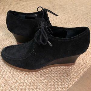 Ralph Lauren black suede wedge heels